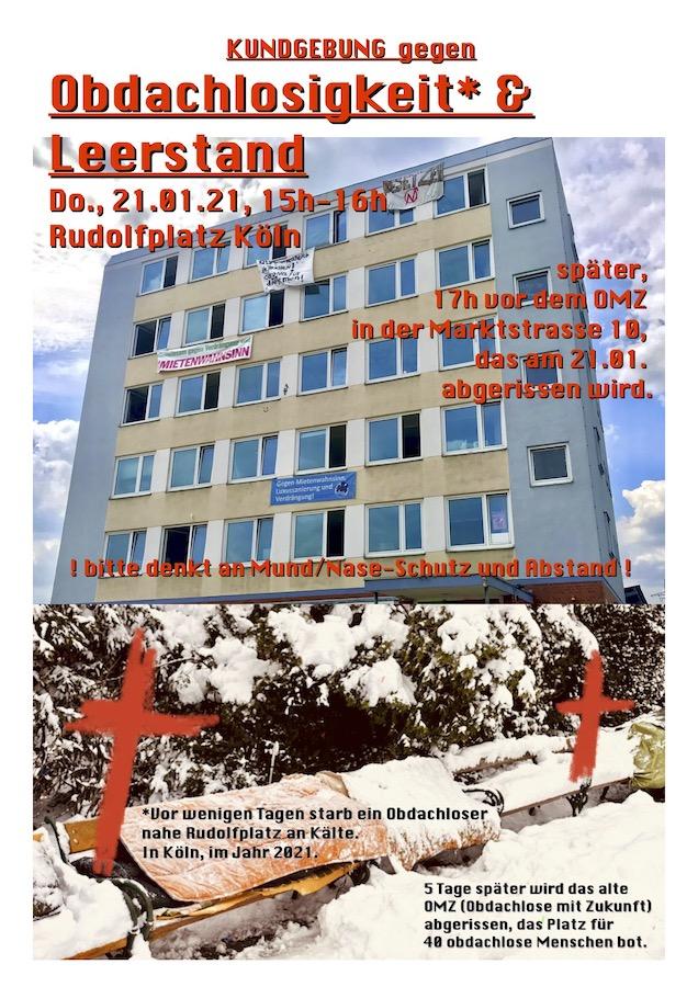 Plakat: Kundgebung gegen Obdachlosigkeit & Leerstand
